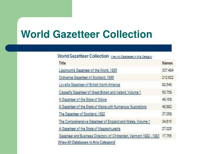 World Gazetteer Collection