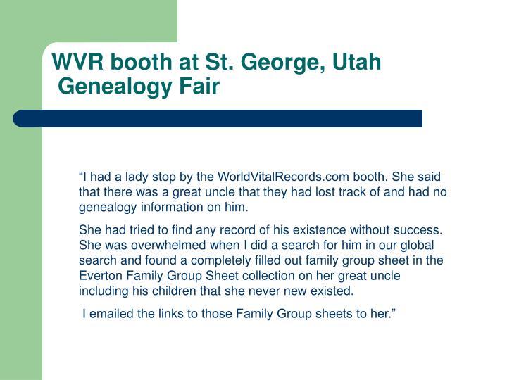 WVR booth at St. George, Utah