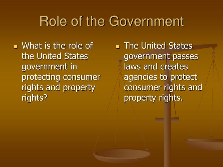 What is the role of the United States government in protecting consumer rights and property rights?
