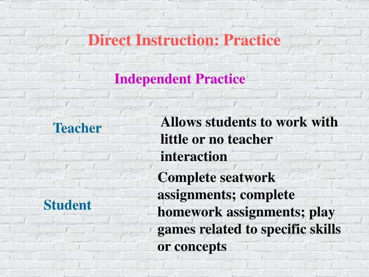 Direct Instruction: Practice