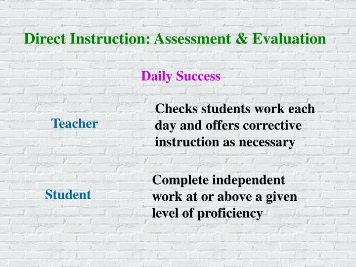 Direct Instruction: Assessment & Evaluation