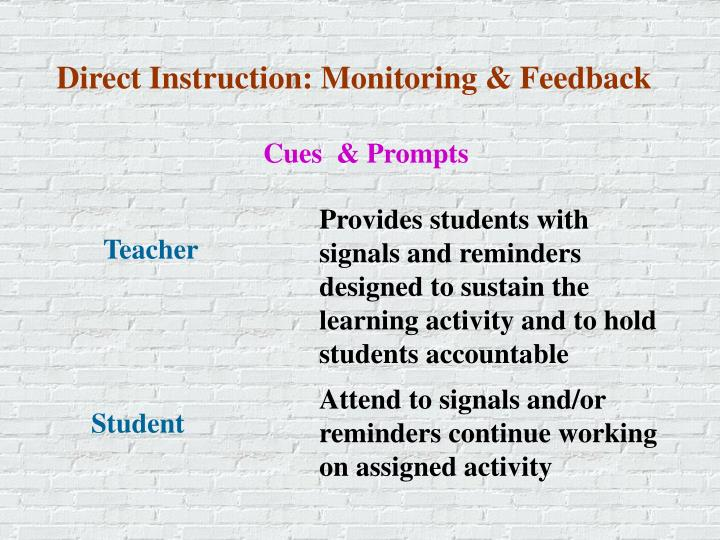 Direct Instruction: Monitoring & Feedback