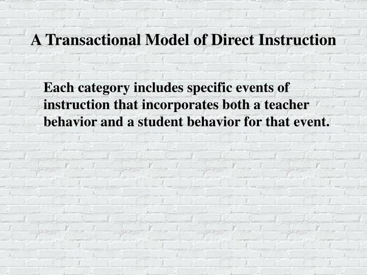 A Transactional Model of Direct Instruction