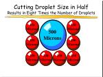 cutting droplet size in half results in eight times the number of droplets