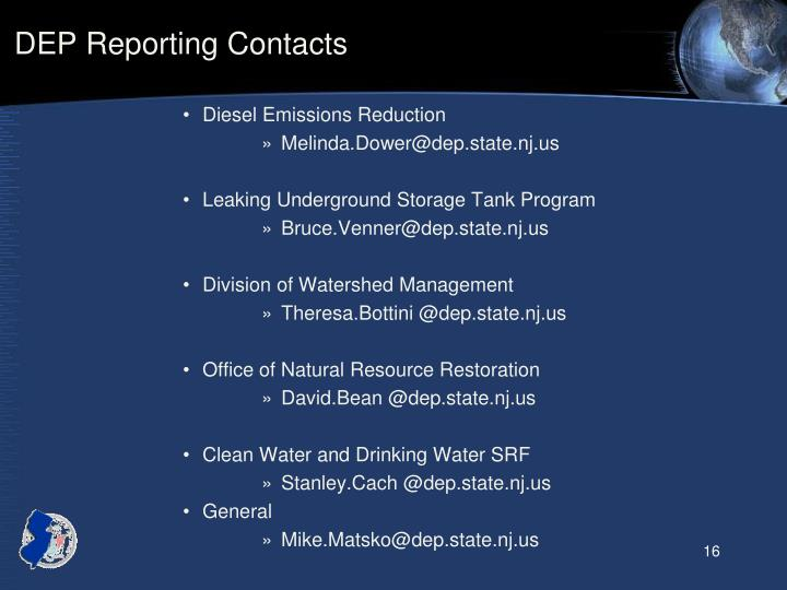 DEP Reporting Contacts