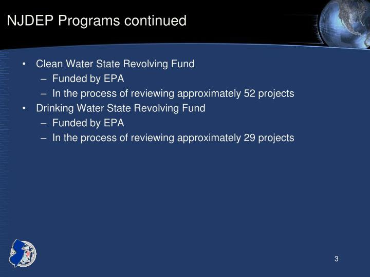 NJDEP Programs continued
