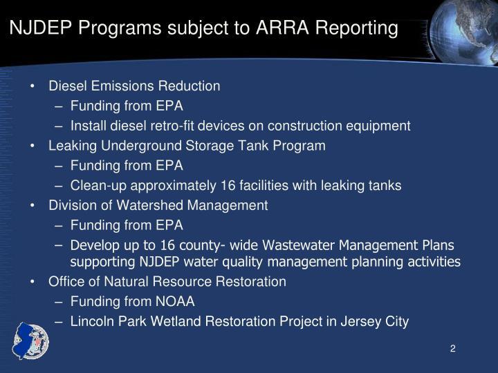 NJDEP Programs subject to ARRA Reporting