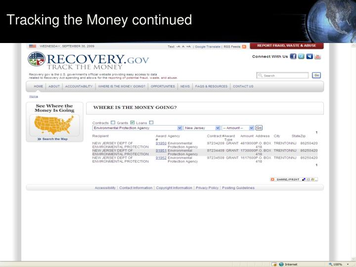 Tracking the Money continued