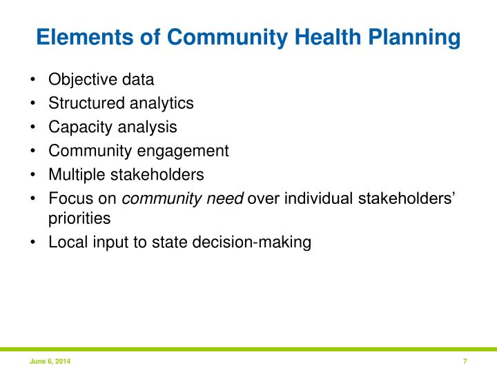 Elements of Community Health Planning