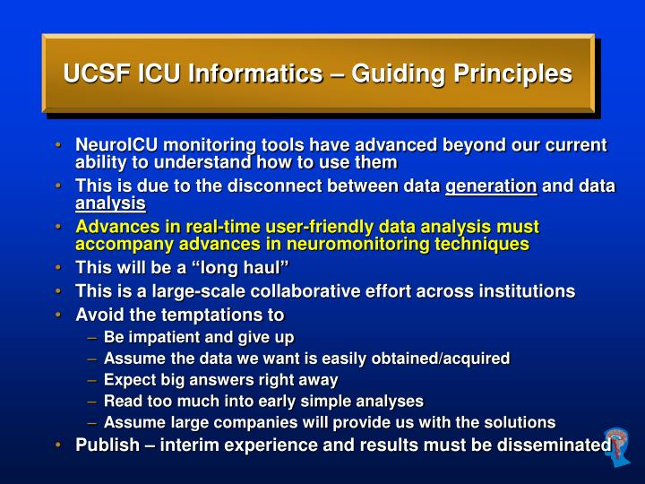 UCSF ICU Informatics – Guiding Principles