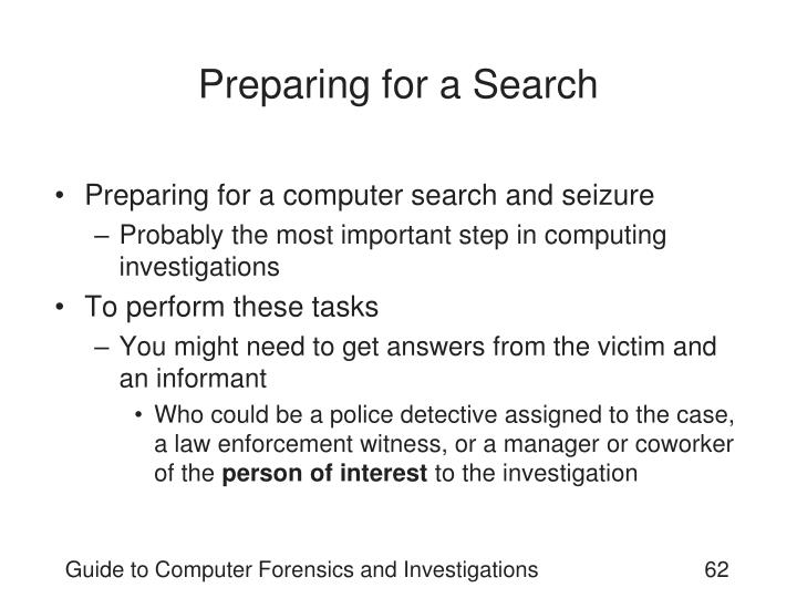 Preparing for a Search