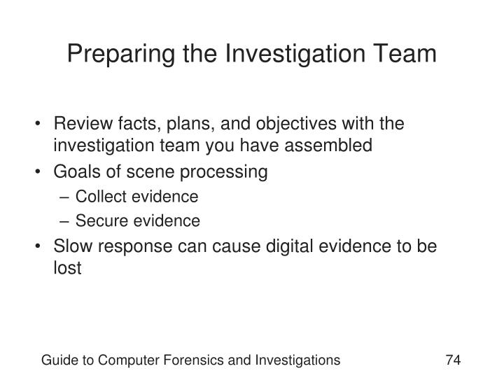 Preparing the Investigation Team