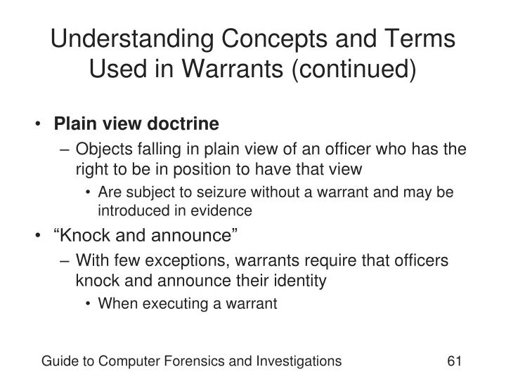 Understanding Concepts and Terms Used in Warrants (continued)