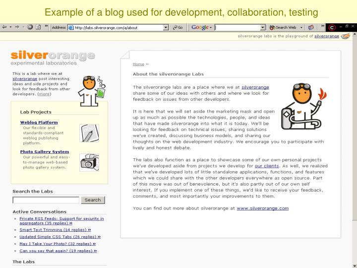 Example of a blog used for development, collaboration, testing