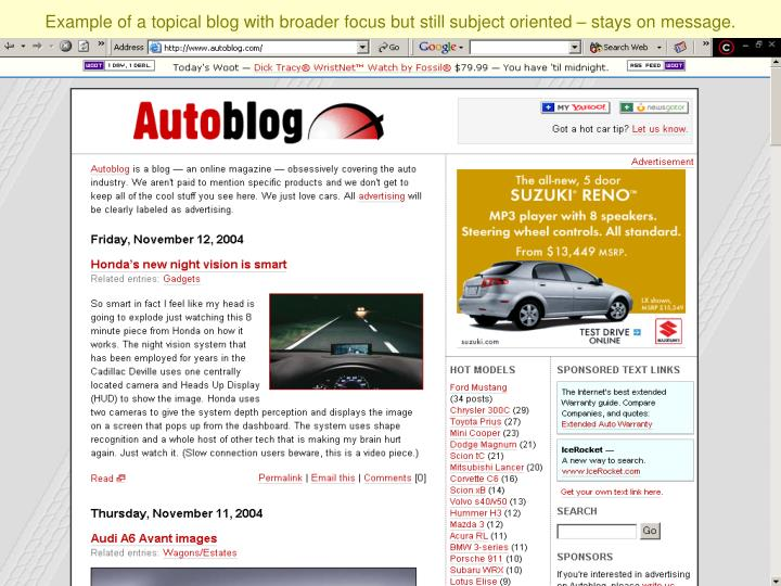 Example of a topical blog with broader focus but still subject oriented – stays on message.
