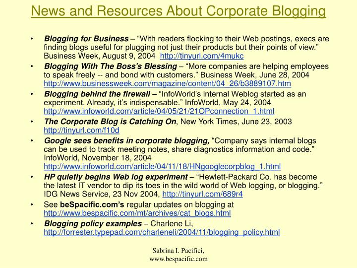 News and Resources About Corporate Blogging