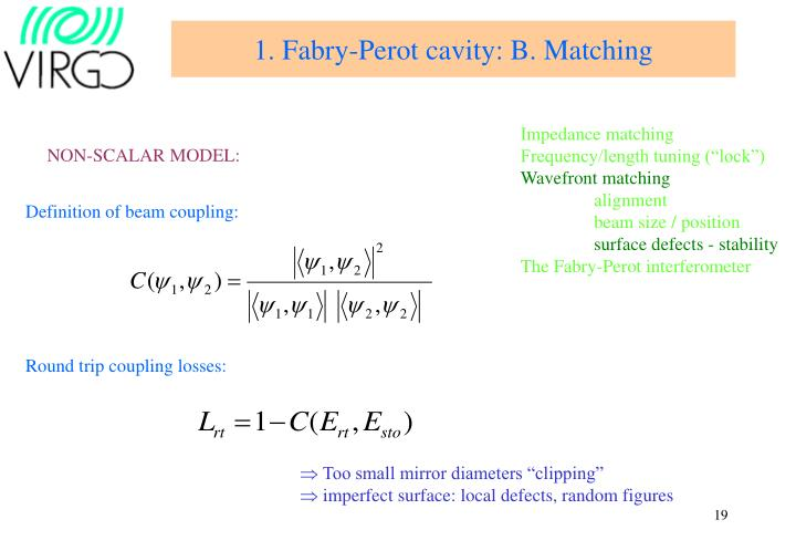 1. Fabry-Perot cavity: B. Matching