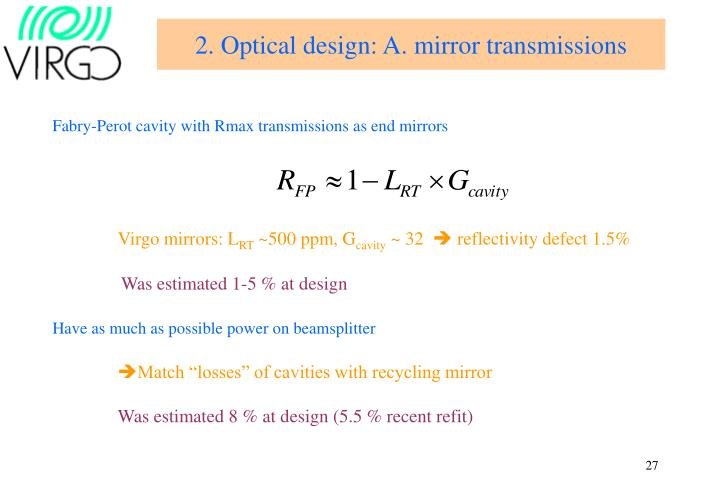 2. Optical design: A. mirror transmissions