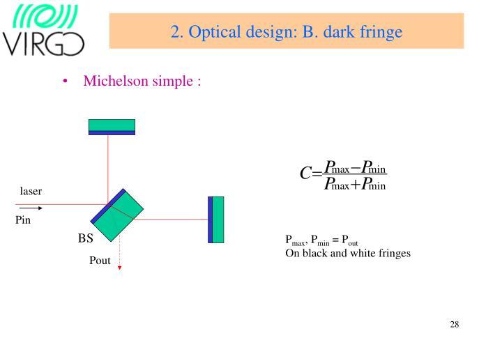 2. Optical design: B. dark fringe