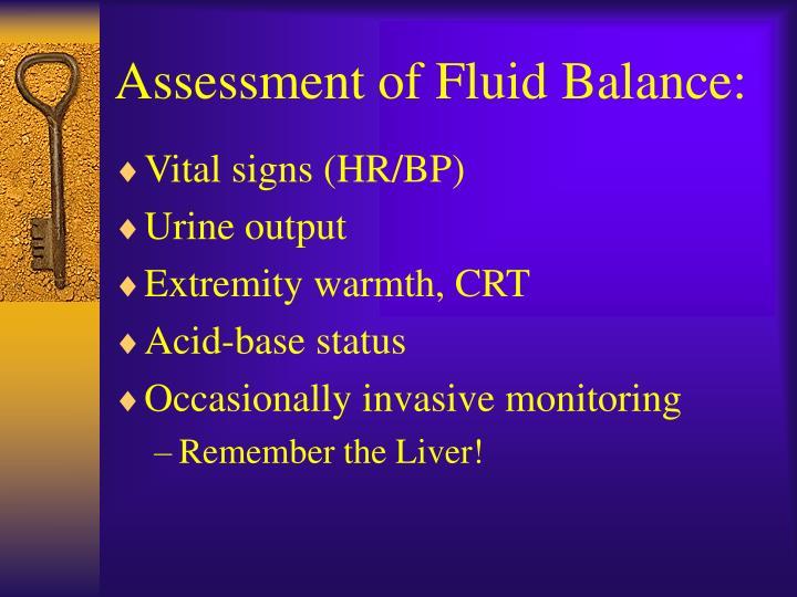 Assessment of Fluid Balance: