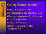 getting started settings