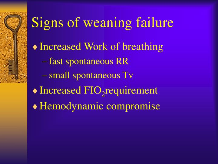 Signs of weaning failure