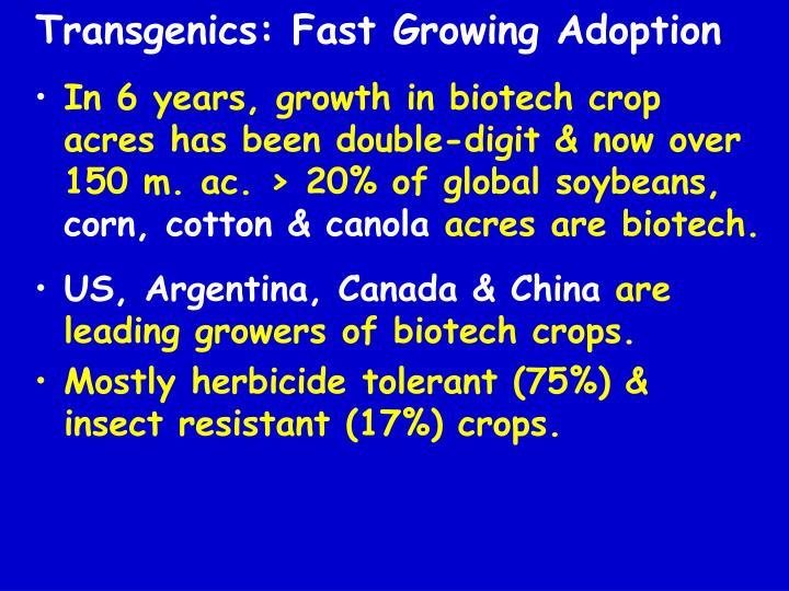 Transgenics: Fast Growing Adoption