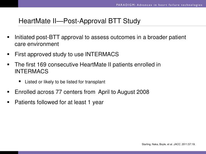 HeartMate II—Post-Approval BTT Study