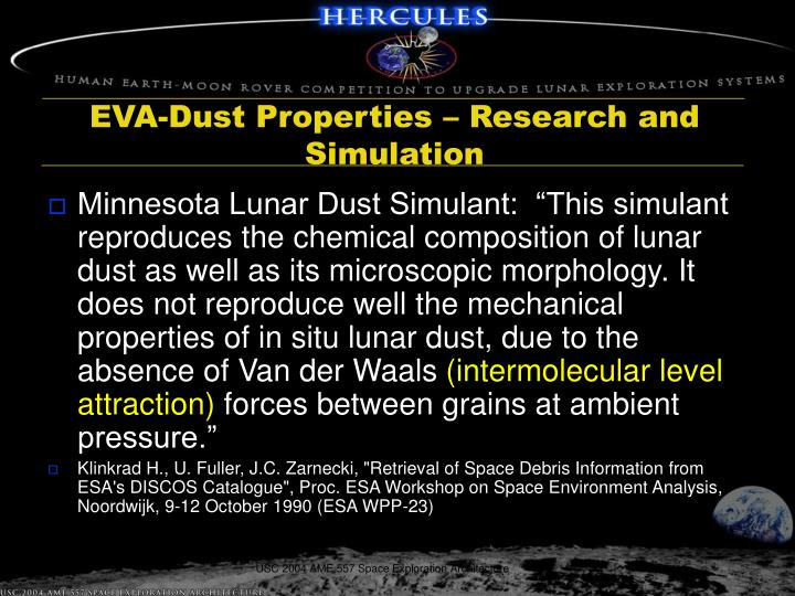 EVA-Dust Properties – Research and Simulation