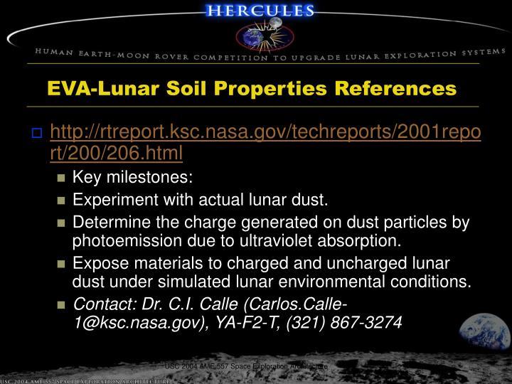 EVA-Lunar Soil Properties References