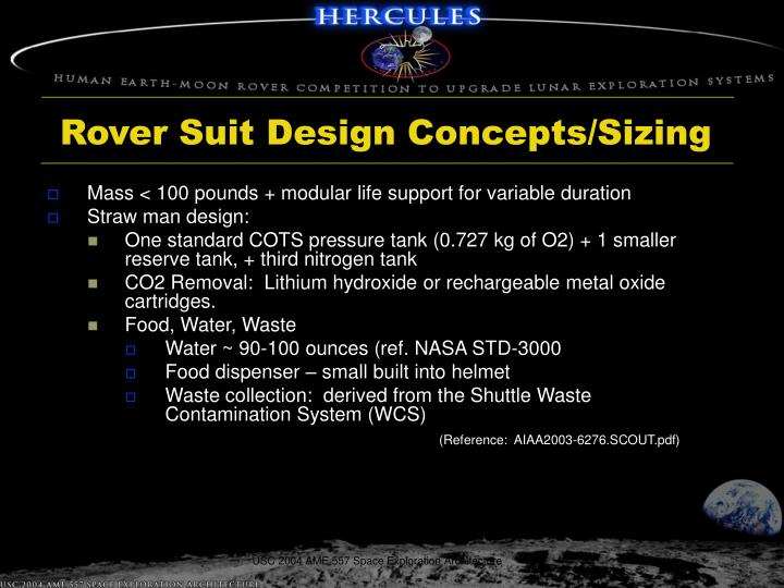 Rover Suit Design Concepts/Sizing