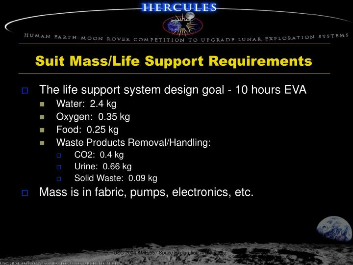 Suit Mass/Life Support Requirements