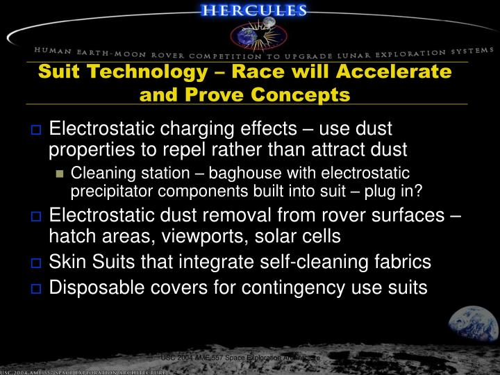 Suit Technology – Race will Accelerate and Prove Concepts