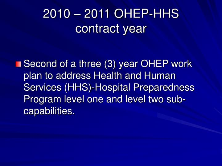2010 – 2011 OHEP-HHS