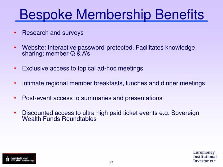 Bespoke Membership Benefits