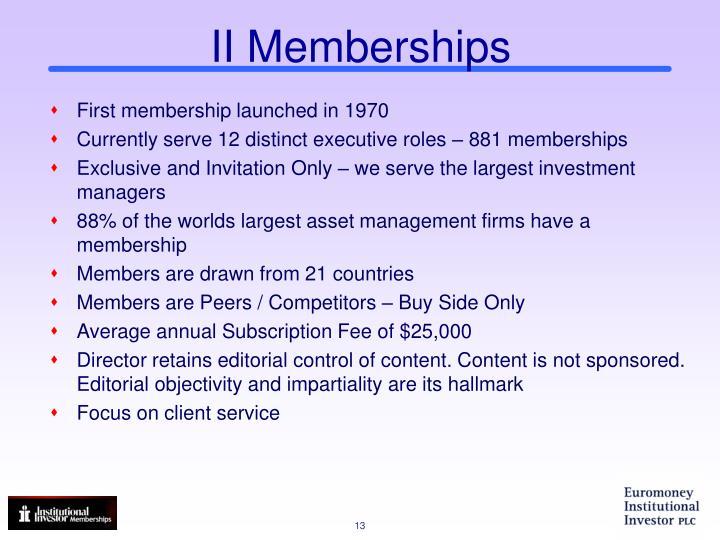 II Memberships