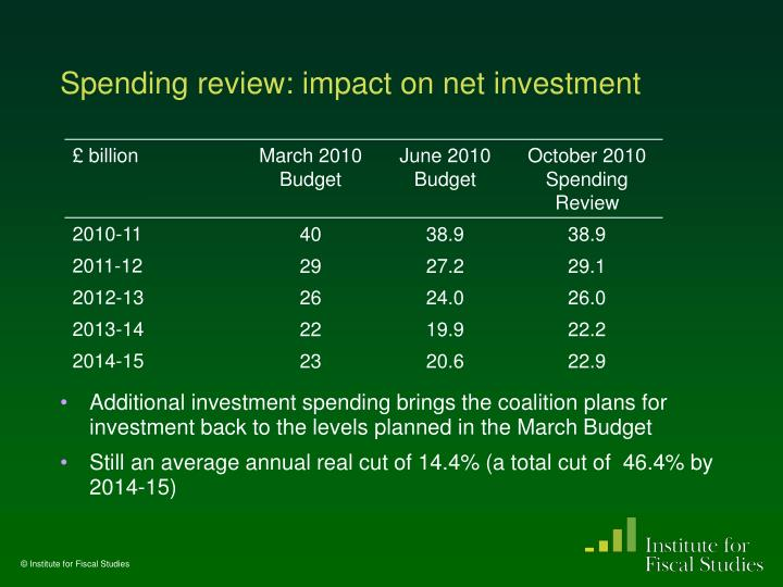 Spending review: impact on net investment
