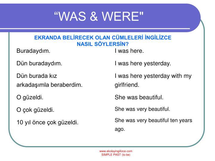 """""""WAS & WERE"""""""