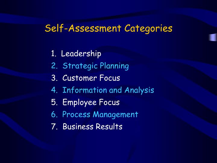 Self-Assessment Categories