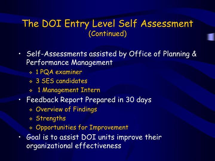 The DOI Entry Level Self Assessment