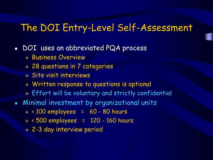 The DOI Entry-Level Self-Assessment