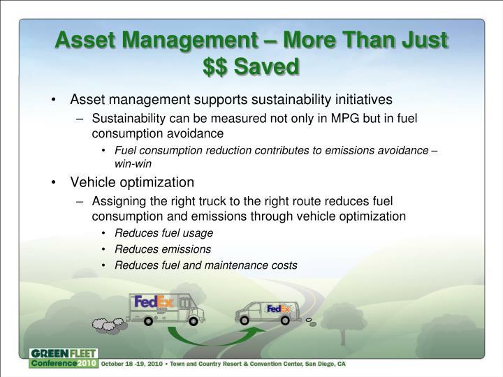 Asset Management – More Than Just $$ Saved