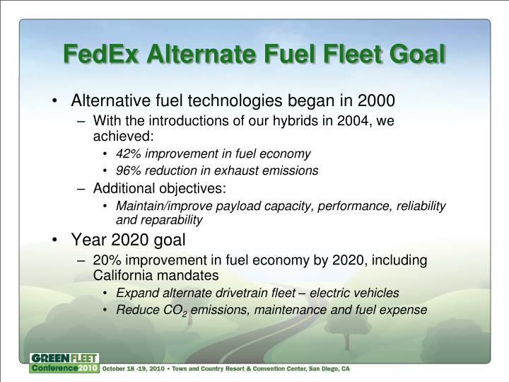 FedEx Alternate Fuel Fleet Goal