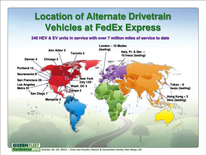 Location of Alternate Drivetrain Vehicles at FedEx Express