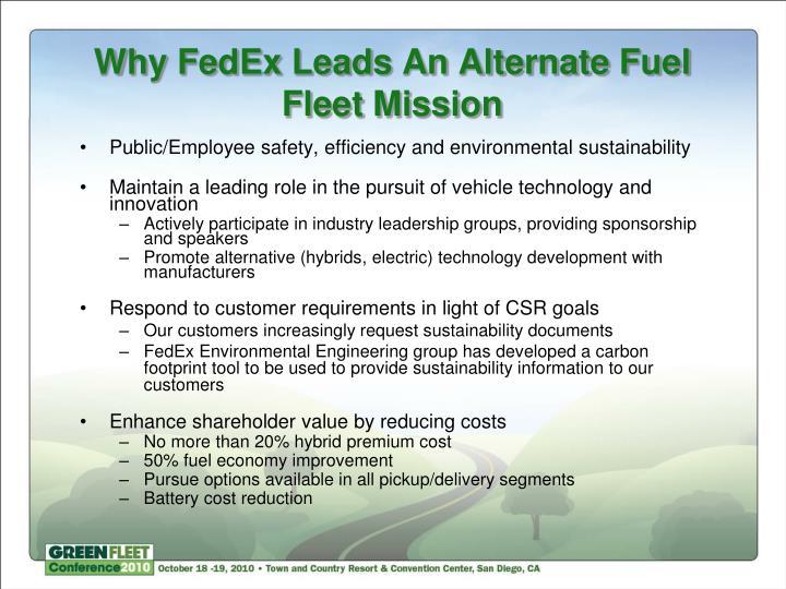 Why FedEx Leads An Alternate Fuel Fleet Mission