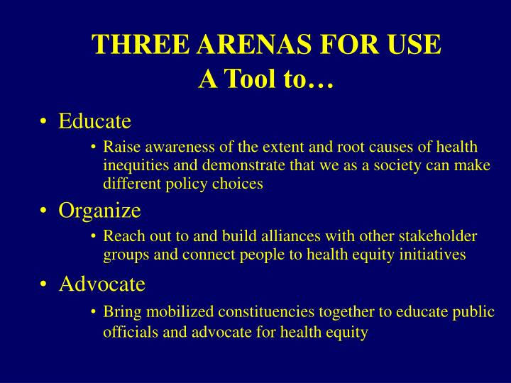 THREE ARENAS FOR USE