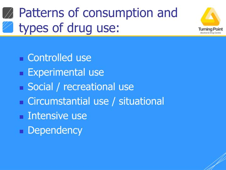 Patterns of consumption and types of drug use:
