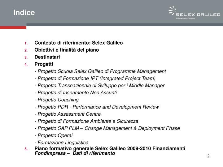 Contesto di riferimento: Selex Galileo