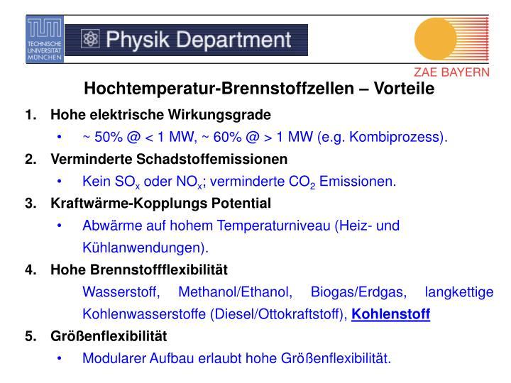 Hochtemperatur-Brennstoffzellen – Vorteile