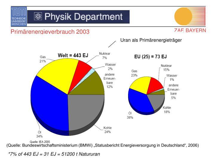 Primärenergieverbrauch 2003